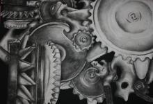 mechanical still life High School Art Projects, Cool Art Projects, Ap Drawing, Drawing Tools, Middle School Art, Art School, Technological Change, Mechanical Art, Cyborgs