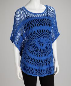 Take a look at this Royal Crocheted Cape-Sleeve Top by Focus 2000 on #zulily today!