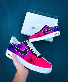 Air Force 1 Custom California Sunset Source by shoes ideas White Nike Shoes, Nike Air Shoes, Jordan Shoes Girls, Girls Shoes, Custom Vans Shoes, Custom Painted Shoes, Air Force One Shoes, Sneakers Fashion, Fashion Shoes