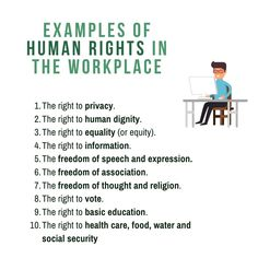 List with examples of South African Human Rights in the Workplace   In South Africa, workplace human rights include: The right to privacy. The right to human dignity. The right to equality (or equity). The right to information. The freedom of speech and expression. The freedom of association. The freedom of thought and religion. The right to vote. The right to basic education. The right to health care, food, water and social security. The right to safety, security and protection of life. Human Rights Definition, Human Rights List, What Are Human Rights, What Is Human, Right To Privacy, Right To Choose, Exam Papers, Business Studies, Human Dignity