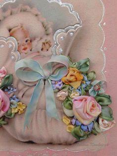 """Quadro """"Bimbo neonato"""", augurio, idea regalo , ricamato a mano, silk ribbon embroidery"""