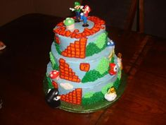 My nephew want a super mario cake, so me and my sister did some research online and got some different ideas.  So I bake a 10'on the bottom, and then I