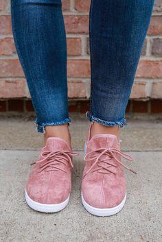 Dark Peach Faux Suede Lightweight Lace Up Sneakers buna-1