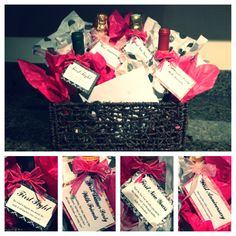 """Bachelorette Party Gift Idea. Basket of wine and champagne for the couples """"firsts"""" after they tie the knot."""