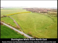 A view of Durrington Walls, with the relative position of the newfound stones represented as yellow dots..<br />