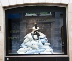 """DIESEL, Amsterdam, the Netherlands, """"Today has been cancelled. - Visual Merchandiser, styling and still life designs Fashion Window Display, Window Display Design, Store Window Displays, Vitrine Design, Retail Windows, Visual Display, Merchandising Displays, Showcase Design, Store Design"""