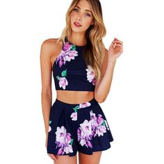 New Fashion 2016 Summer Women Jumpsuit Shorts Sexy Backless Flower Jumpsuits Romper Overalls Playsuit Enteritos Mujer Club Wear
