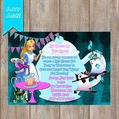 Alice in Wonderland birthday Invitation, Alice in Wonderland invitation, Alice Mad Hatter Birthday Tea Party Invitation -YOU PRINT by MyPrintableParty on Etsy