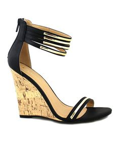 Loving this Black & Gold Jaida Wedge on #zulily! #zulilyfinds