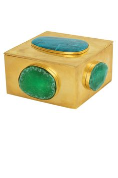 Kelly Wearstler Turquoise Bauble Box. Hand picked gemstones in unlacquered brass. #kellywearstler