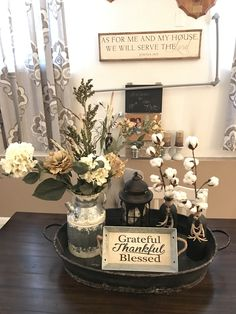 Farmhouse style centerpiece for dining table.