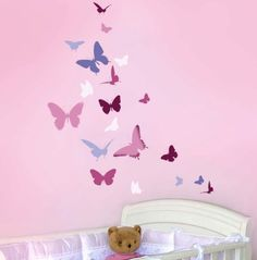REUSABLE WALL STENCIL Butterfly Dance, Easy Wall Art Stencil for Nursery Decor. $32.95, via Etsy.