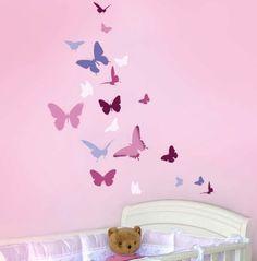 REUSABLE WALL STENCIL Butterfly Dance, Easy Wall Art Stencil for Nursery Decor. $32.95, via Etsy.
