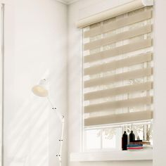 Chicology Free-Stop Cordless Zebra Roller Shades,Striped Khaki,Cordless,Dual Layered Combi Blind,Polyester Yarn,