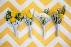 Yellow, white and gray modern boutonnieres with photos from April Smith & Co. Photography   junebugweddings.com