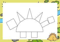 Dzień Dinozaura - Kształty / Stwórz swojego dinozaura do druku Dinosaur Activities, Dinosaur Crafts, Preschool Activities, Gabriel, Geometric Fashion, Infant Activities, Dinosaurs, Dinosaur Projects, Dyslexia