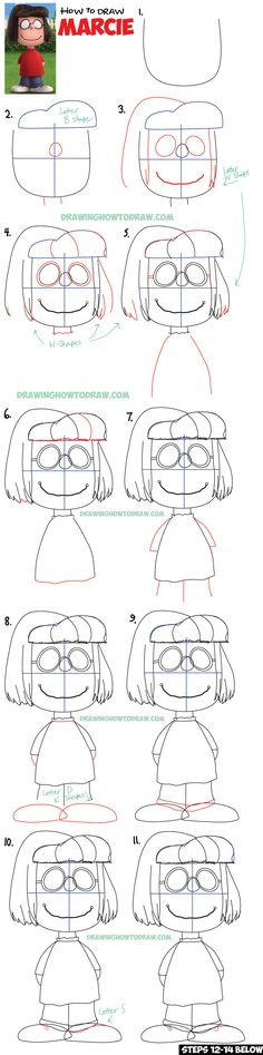 How to Draw Marcie from The Peanuts Movie Step by Step Drawing Tutorial
