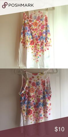 Floral Tank Top Soft cotton tank with vibrant floral design. Somewhat sheer. Forever 21 Tops Tank Tops