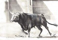 Toro acuatinta pintor Francisco Alvarez artista.