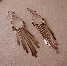 Hammered Copper Long Dangly Earrings by desertshinejewelry on Etsy, $35.00