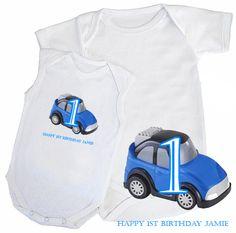 £7 Personalised 1st Birthday Message Blue Car Babygrow