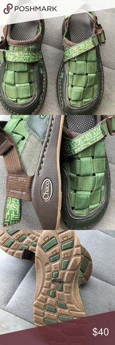 Boys Chaco sandals Hunter green and brown theses sandals are in perfect condition no scuffs rips tears or stain almost new Chaco Shoes Sandals & Flip Flops