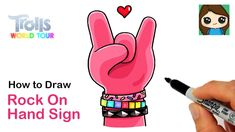 How to Draw the Rock On Hand Sign 🤘🎵 | Trolls World Tour - YouTube Rock And Roll Sign, Rock Hand, Marker Paper, Student Drawing, Sketch Pad, Drawing Lessons, Art Challenge, Step By Step Drawing, Learn To Draw