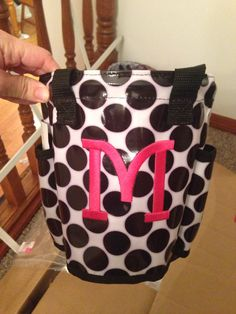 Round about caddy. Thirty one gifts. Hot pink embroidery.