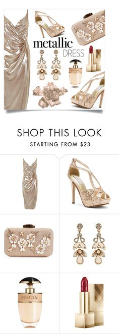 """""""slinky shimmer"""" by collagette ❤ liked on Polyvore featuring River Island, Touch Ups, Accessorize, Prada, Burberry, By Terry and metallicdress"""