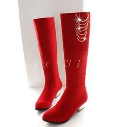 Hot Womens Knee High Boots Rhinestone Chunky Slim Pull On Wedding Bridal Shoes