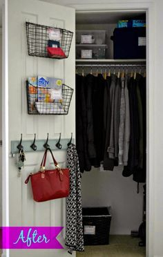 New house Home Tour: Entryway closet organization How Much Activity is Too Much? Front Hall Closet, Hallway Closet, Closet Bedroom, Closet Doors, Closet Office, Pantry Doors, Master Closet, Hall Closet Organization, Closet Storage