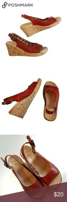 08e3a98e8699 Red Leather Crocs Sandals w cork wedge platform.