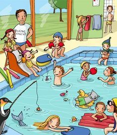 quenalbertini: Swimming time by Claire Delvaux illustration English Activities, Speech Therapy Activities, Language Activities, Writing Pictures, Picture Writing Prompts, Art Drawings For Kids, Drawing For Kids, Composition D'image, English Creative Writing