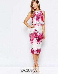 True Violet 2 In 1 Pencil Dress In Rose Floral Print