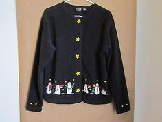 C B Sport by Croft Barrow Black Fleece Jacket with Snowmen Size Small | eBay