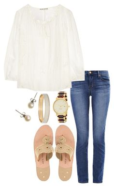 """"""""""" by hbcernuto ❤ liked on Polyvore featuring J Brand, Alice + Olivia, Kate Spade, J.Crew and Jack Rogers"""