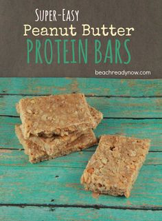 Super-Easy PB Protein Bars C. skim milk 1 C. honey 1 C. whey protein powder 2 C. oats (regular, not quick-cook) Easy Protein Bars, Peanut Butter Protein Bars, Healthy Protein Snacks, Healthy Recipes, Vegetarian Recipes, High Protein, Healthy Foods, Healthy Bars, Protein Bites