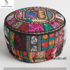 Indian Hand Embroiderd Footstool & Pouf Cover Bohemian Ottoman Living Room Decor
