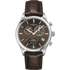 Certina DS- 8 Chrono Moon Phase Genuine Brown Leather Men's Quartz Watch - Certina - Shop Watches by Brand - Jomashop Swiss Made Watches, Fine Watches, Cool Watches, Men's Watches, Best Watches For Men, Luxury Watches For Men, Seiko, Moonphase Watch, Affordable Watches