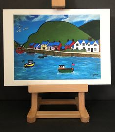 Signed Print of original acrylic painting of Fishguard Harbour, Pembrokeshire, West Wales by LynArtWales on Etsy Acrylic Artwork, Sign Printing, Fine Art Paper, Marketing And Advertising, Wales, Toy Chest, Original Paintings, The Originals, Frame