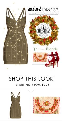"""Mini Dress in Florida During Holidays. ..."" by conch-lady ❤ liked on Polyvore featuring Hervé Léger, Anya Hindmarch, Gianvito Rossi, florida and minidress"