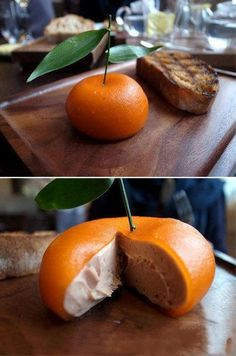 Meat fruit -- Consists of a tangy outside layer of Mandarin jelly encasing a delicate silken Chicken liver parfait, and it looks like an orange.  Dates back to medieval times...