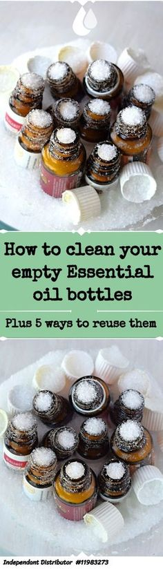 Cleaning empty Essential oil Bottles Do you have a pile of almost empty essential oil bottles? The you hold upside down forever and shake, hoping that last little bit of oil will come Essential Oil Bottles, Doterra Essential Oils, Natural Essential Oils, Essential Oil Diffuser, Essential Oil Blends, Natural Oils, Coffee Essential Oil, Natural Products, Body Products