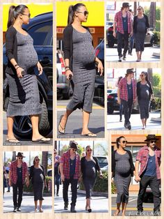 They're expecting twins together in about two months' time. And pregnancy appears to be nothing but bliss for Zoe Saldana, 36, and her husband Marco Perego, 35, who were seen holding hands as they strolled to brunch at Hayat's Kitchen in Sherman Oaks on Sunday. Zoe proudly paraded her burgeoning bump in a fitted patterned grey midi dress, which she paired flip flops for comfort.