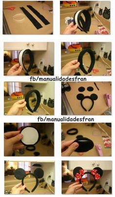 For my Minnie Mouse Costume! Disney Diy, Diy Disney Ears, Disney Mickey Ears, Disney Crafts, Mickey Mouse Birthday, Mickey Minnie Mouse, Minnie Mouse Headband, Mickey Party, Costumes