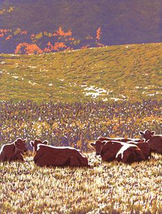 "William H. Hays - Autumn Girls, edition of 40, 9-colorlinocut print on Stonehenge paper, printed with oil-based ink, 12"" x 9"""