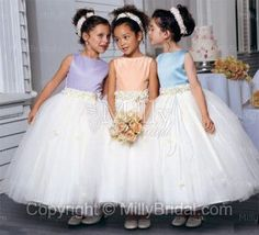 Bateau Ball Gown Ankle Length Embellished Trim Multi Colors Tulle Flower Girl Dress at Millybridal.com