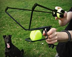 Hyper Dog Ball Launcher / Throwing a ball isn´t enough for you hyper active dog? Do you need more distance? With this cool Hyper Dog Ball Launcher playing fetch will be a lot more fun. http://thegadgetflow.com/portfolio/hyper-dog-ball-launcher-24/