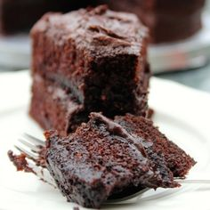 A moist, fudgy devil's chocolate cake with chocolate buttercream frosting
