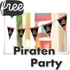 """Süße Kinderzimmer-Deko """"PIRAT"""" Party-Set Pirat zum ganz-schnell-selber-machen… Du brauchst nur Drucker, Schere und Klebestift und schon kann es los gehen. Die kostenlosen Downloads zum ausdrucken findest du hier: >> http://www.misses-cherry.blogspot.de << Viel Spass! //Farben und Konturen können, je nach Bildschirm- … weiterlesen"""